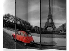 Paraván - Eiffel Tower and red car II [Room Dividers]